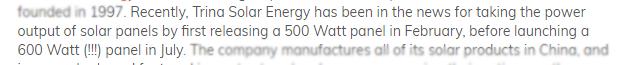 Trina solar panels updates